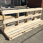 A bespoke softwood T frame pallet for exhibition panels at the London Marathon.