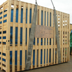 Open boarded out of gauge softwood crate for ocean freight