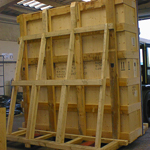 Out of gauge softwood case orientated vertically, complete with transit frame, fitted with dual base system