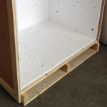 Polystyrene lined softwood battened 9mm plywood case for fragile display equipment, screwed assembly